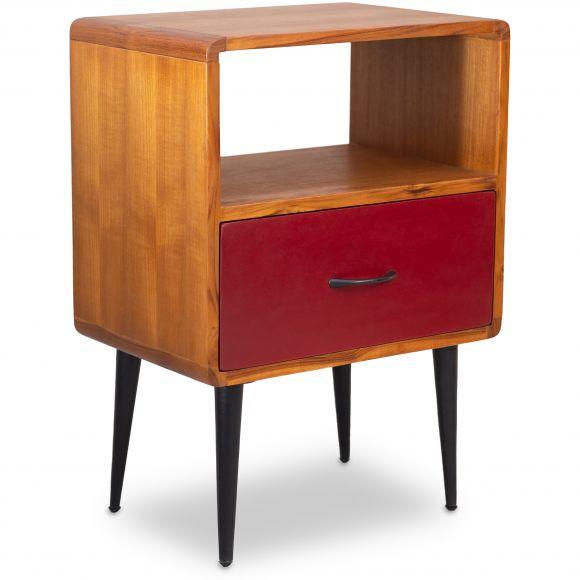 Java, Teakholz Nachtschrank / 1 Schublade, rot,  Retro-Design,  Nr.410