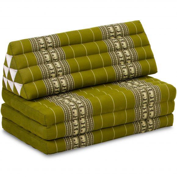 Jumbo Thaikissen, Dreieckskissen XXL-Breite, grün / Elefanten