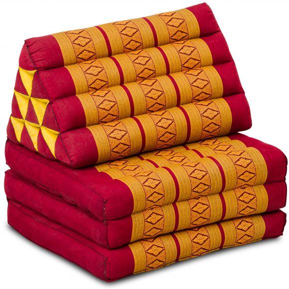 Kapok Thaikissen, Dreieckskissen, rot/gelb, 3 Auflagen