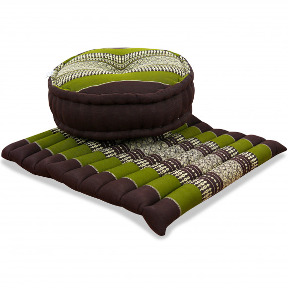 Kapok, Zafukissen mit großem Steppkissen L, braun-grün