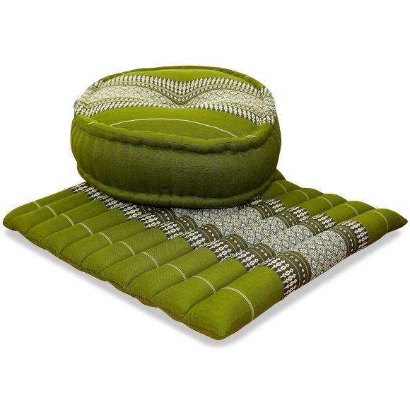 Kapok, Zafukissen mit großem Steppkissen L, grün