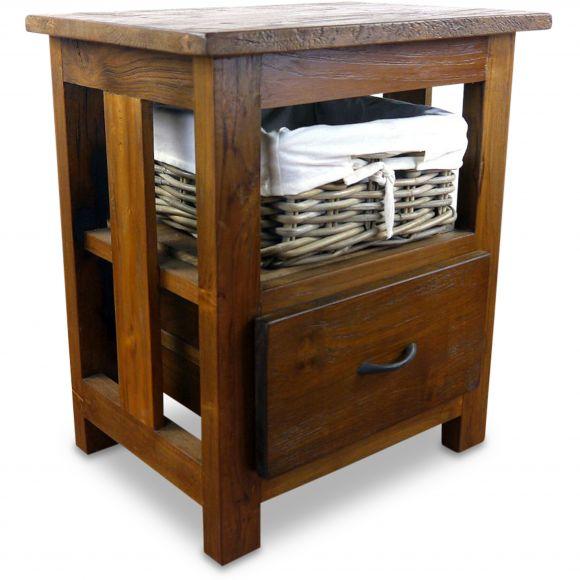 Java, Teakholz (recycelt) Nachtschrank mit 1 Korb und 1 Schublade, Nr.500