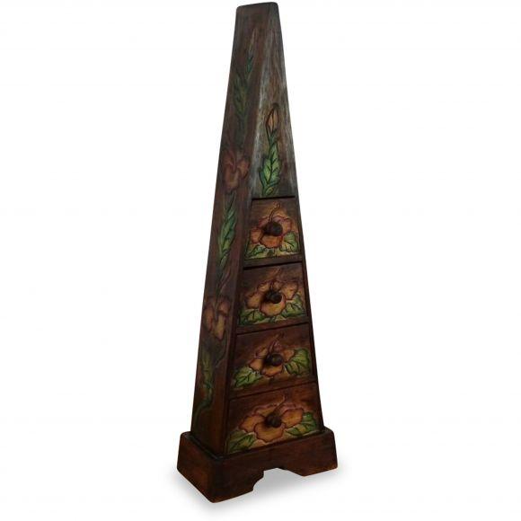 Schubladenkommode Pyramide aus Bali (Indonesien), braun