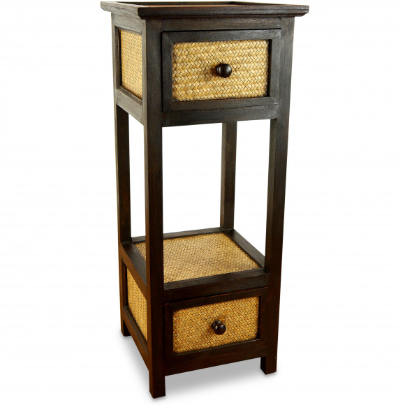 Asiatisches Rattanschränkchen  hoch mit 2 Schublade , Nr.83