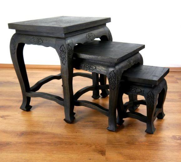 opiumtisch 3er set schwarze eleganz im asia wohnstudio. Black Bedroom Furniture Sets. Home Design Ideas