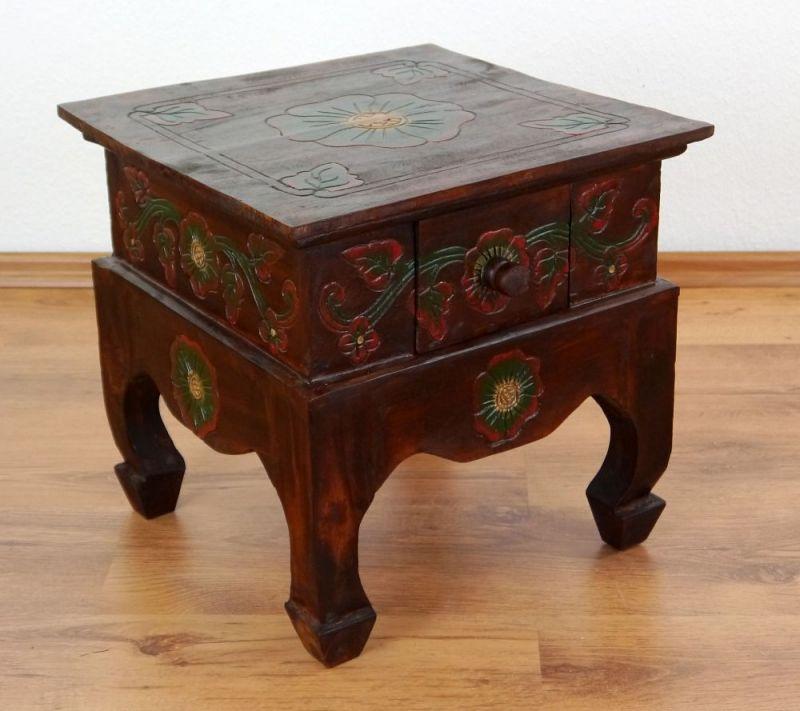 kleiner brauner opiumtisch mit schublade aus bali. Black Bedroom Furniture Sets. Home Design Ideas