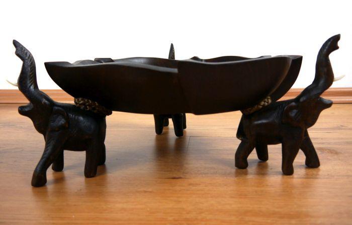 Servierschale mit Elefanten Massivholz Obst und Gebäckschale Brotkorb