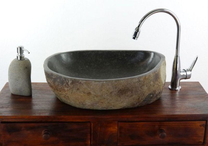 Waschbecken aus indonesien for Flussstein waschbecken