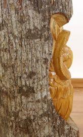 Baumstamm mit eingeschnitzer  Eule