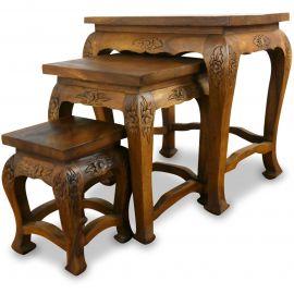 Opiumtisch-Set, 3 asiatische Tische *hell-braune Eleganz*