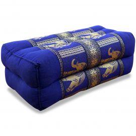 Yogakissen, Stützkissen, Seidenstickerei,  blau / Elefanten