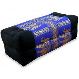 Yogakissen, Stützkissen, Seidenstickerei,  schwarz-blau  / Elefanten