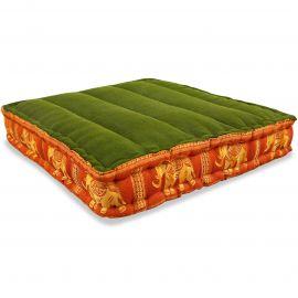 Bodensitzkissen, Meditationskissen mit Seide,  grün-orange / Elefanten
