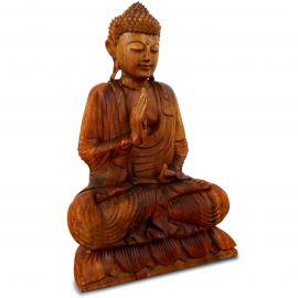 Ruheausstrahlender Buddha aus Bali, Vitarka Mudra, einfarbig, groß