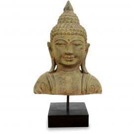 Buddha - Steinbüste, beige, aus Bali (Indonesien)