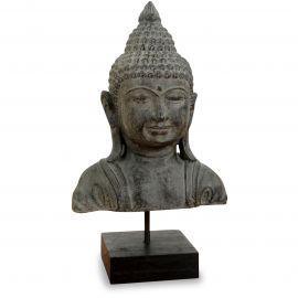 Buddha - Steinbüste, grau, aus Bali (Indonesien)