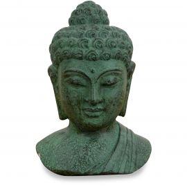 Buddha - Steinbüste, grün, aus Bali (Indonesien)