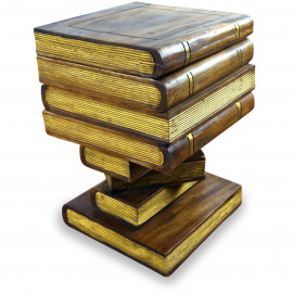 Massivholz  Büchersäule goldfarbene Bücher  klappbar