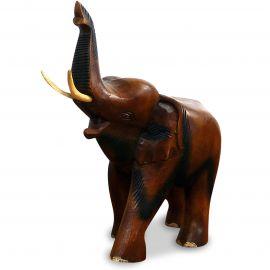Holzelefanten, Elefant aus Holz, Gückselefant, Rüssel oben, mittel