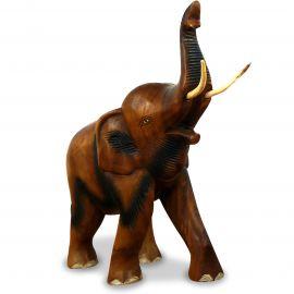Holzelefanten, Elefant aus Holz, Gückselefant, Rüssel oben, groß