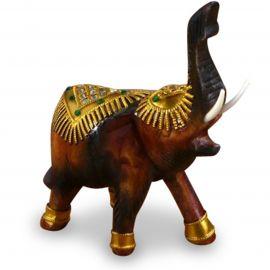 Holzelefanten mit goldfarbener Verzierung Gückselefanten, Rüssel oben, klein