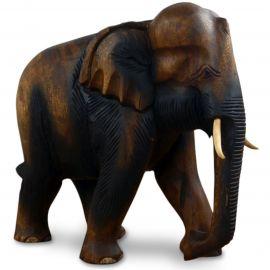 Elefanten aus Holz, Rüssel hängend, groß