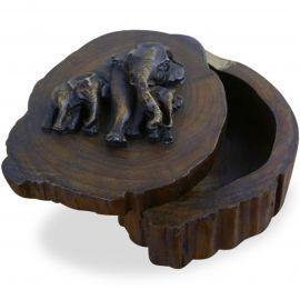 Asiatische Elefanten Dekokästchen aus Teakholz