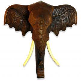 Afrikanischer Elefantenkopf aus Massivholz, 77cm