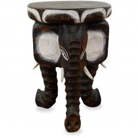 Kleines Elefantenpodest aus Bali, schwarz