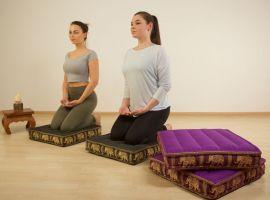 Bodensitzkissen, Meditationskissen mit Seide,  dunkelbraun-gold / Elefanten