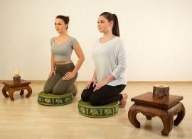 Zafukissen, Meditationskissen, Seide, grün / Elefanten
