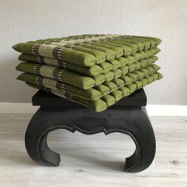 (Auslaufmodell) Nr.26 5er Set Kapok Sitzkissen, Thaikissen, Gr. L, gesteppt, grün