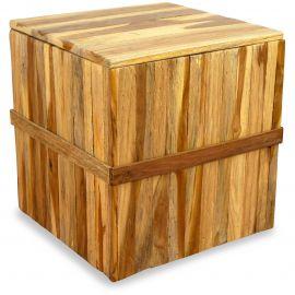 Holzwürfel, Sitzwürfel zum Öffnen, natur, quadratisch,  Java (Indonesien)