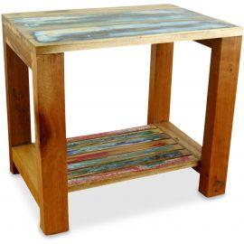 Java, Tisch / Nachttisch aus buntem recycelten Teakholz/Bootsholz, Nr.62
