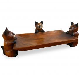 Katzenschale aus Holz als Obst- u. Gebäckschale