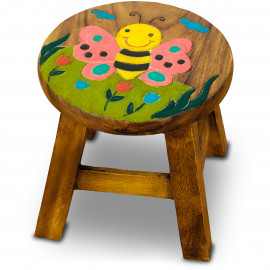 Massivholz Kinderhocker Biene (bunt)