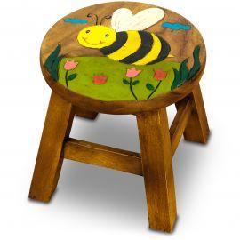 Massivholz Kinderhocker Biene im Flug