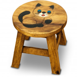 Massivholz Kinderhocker Katze