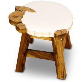 Massivholz Kinderhocker Schaf (weiß)