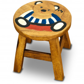 Massivholz Kinderhocker Teddy (Streifenshirt)