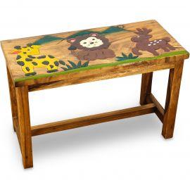 Massivholz Kindertisch, eckig Giraffe, Elch, Löwe
