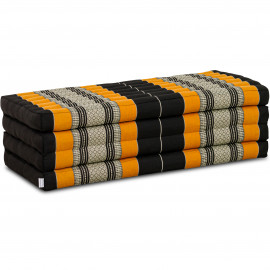 Kapok Klappmatratze, Faltmatratze, schwarz/orange, extrabreit