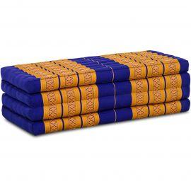 (B-Ware) Nr. 140 Kapok Klappmatratze, Faltmatratze, blau/gelb, extrabreit