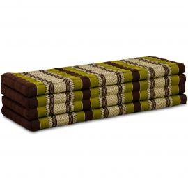 Kapok Klappmatratze, Faltmatratze, braun-grün, 140cm breit
