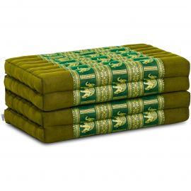 Klappmatratze, Seide, grün/Elefanten