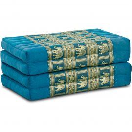 Klappmatratze, Seide, hellblau/Elefanten