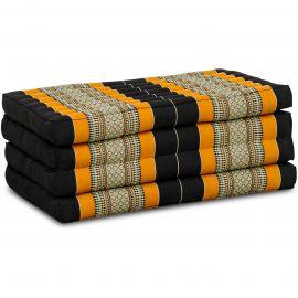 Kapok Klappmatratze, Faltmatratze, schwarz/orange