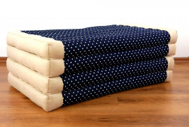 (Auslaufmodell) Nr.58 Kapok Klappmatratze, Faltmatratze, beige / blau gepunktet