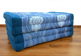 (Auslaufmodell) Nr.55 Kapok Klappmatratze, Faltmatratze, 80 cm, blau / barock
