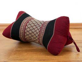 Kapok Nackenstütze, Knochenkissen, rot / schwarz / Muster